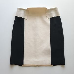 Roland Mouret cream black colorblock wool skirt